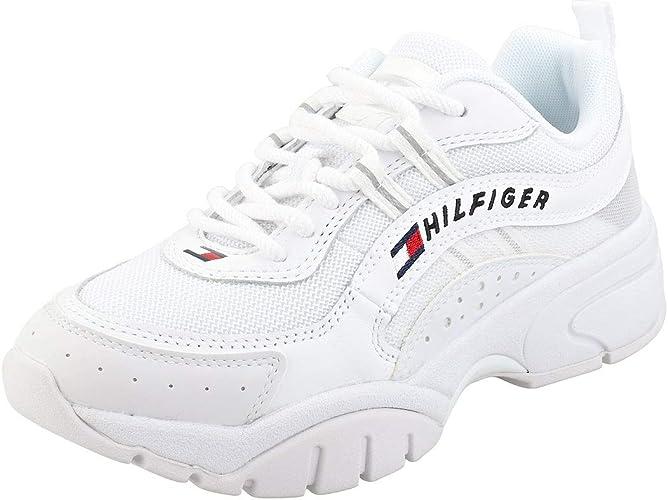 Tommy Jeans Heritage Sneaker Damen White Leder /& Synthetik Sneaker Mode