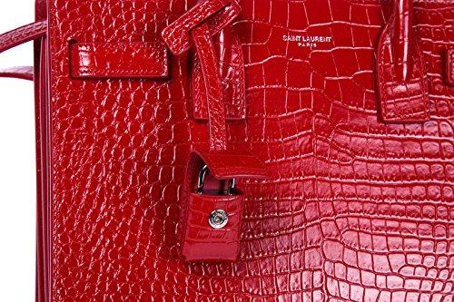 cuir Saint main rouge en à Laurent femme jolie sac xaOBq4wC