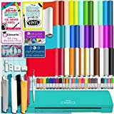 Silhouette Teal Cameo 3 Bluetooth Starter Bundle with 36 12x12 Oracal Sheets, Siser Easyweed T-Shirt Vinyl, Membership, Transfer Paper, Guide, Class, 24 Sketch Pens, and More