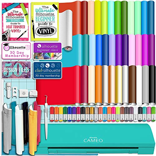 Silhouette Teal Cameo 3 Bluetooth Starter Bundle with 36 12x12 Oracal Sheets, Siser Easyweed T-Shirt Vinyl, Membership, Transfer Paper, Guide, Class, 24 Sketch Pens