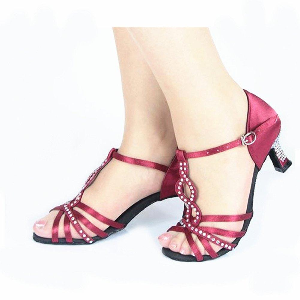 QWERTYUIOP Frauen Runder Toe Latein Latein Latein Tanzschuhe,Leise Unten Satin Dancing Schuhe High Heels Tango Salsa Soziale Tanzschuhe B07HCJGC38 Tanzschuhe Am wirtschaftlichsten 485782