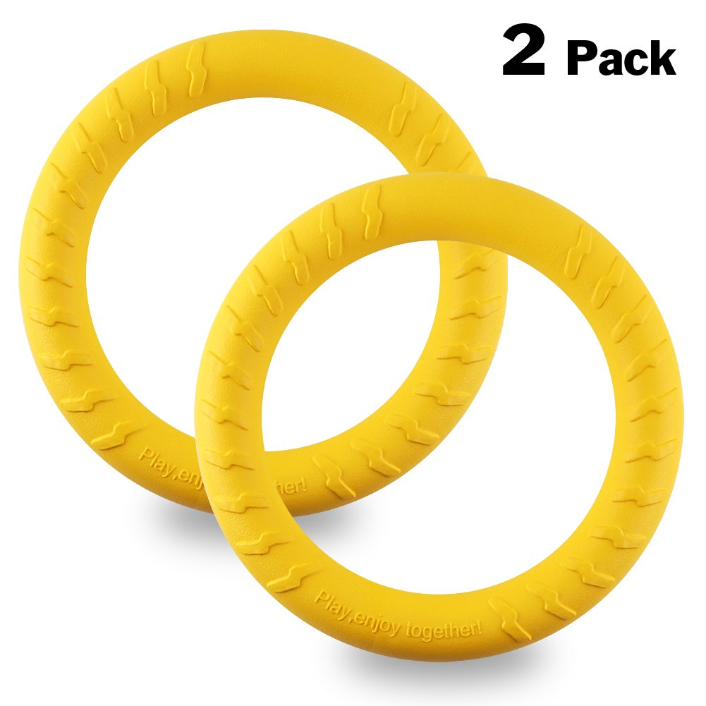 OAKZIP Dog Toys Tug Training Floating Flying Rings Exercise Fetch Toy Bite-resistant Chew toy Teething Cleaner for Outdoor Games Throwing Catching for Medium Large Breeds Dog by 2 Pack 11 inch