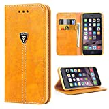 iPhone 6 Premium Wallet Case, iPhone 6/6s Case, iPhone 6 Folio Case, iPhone 6s Case, iPhone 6 Case,iDoer Slim Leather Wallet Protective Case Cover for Apple iPhone 6/6S - Orange