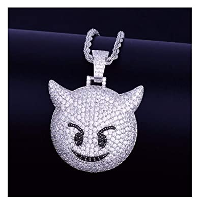 fc30e5c3b LC8 Jewelry Hip Hop Emoji Demon Pendant Necklace Micro-Pave Simulated  Diamond Iced Out Bling 18K Gold Plated Cute Creative Punk Necklace for Men  Women Kids ...
