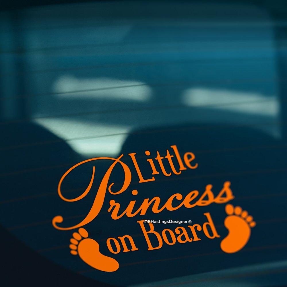 HastingsDesigner BABY FEET LITTLE PRINCESS ON BOARD Funny Car,Bumper,Window Vinyl Decal Sticker White