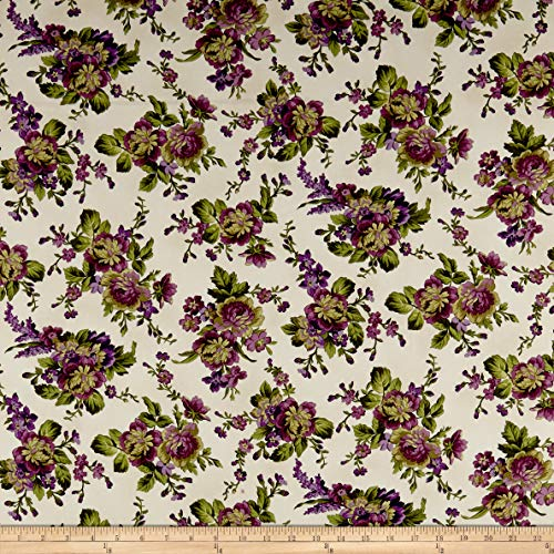 Maywood Studio Aubergine Floral Bouquets Fabric, Ivory, Fabric By The Yard