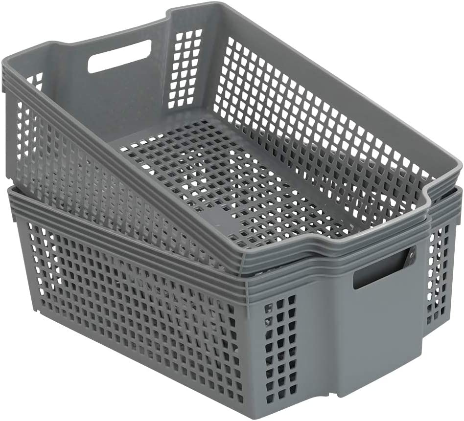 "Cand Plastic Basket with Handle, Grey Basket Organizer, 15.16""x11.02""x5.12"", Pack of 2"