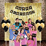 Party Propz Happy Birthday Combo (3 Golden Foil Curtains, Happy Birthday Banner,1 Set Of Birthday Photo Booth - 24 Pcs Golden & Black Latex Balloon)