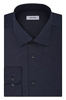 Calvin Klein Men's Non Iron Regular Fit Print Spread Collar Dress Shirt