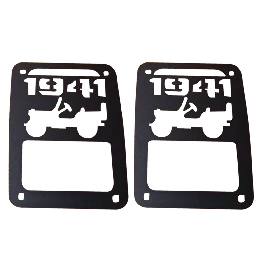 1941 Logo Tail Light Cover 2 Pcs Black Metal Tail Lamp Protector Guards Trim for Jeep Wrangler JK 2007-2015 SUPAREE
