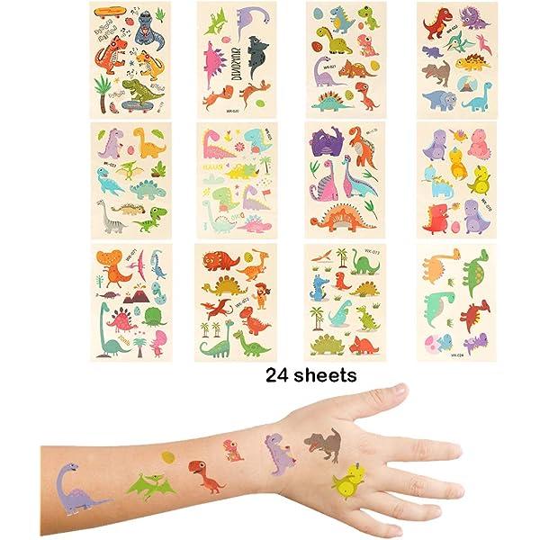 Miunana 24 Hojas Tatuajes temporales para niños, Dinosaurio ...