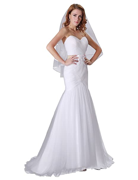 Adasbridal-Elegante Vestido de novia de tul de escote corazon de la sirena