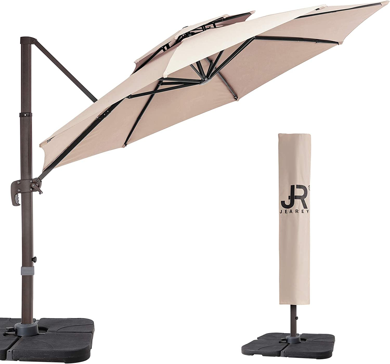 JEAREY 9 Feet Double Top Round Deluxe Patio Umbrella Offset Hanging Umbrella Cantilever Patio Umbrella Outdoor Market Umbrella Garden Umbrella