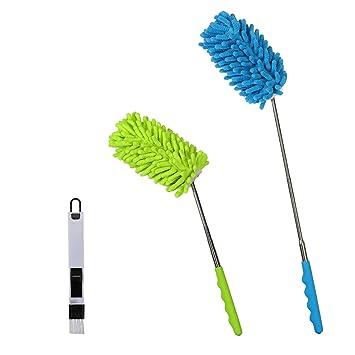 3pcs plumero de microfibra de SEELOK de plumeros para el polvo de cepillo pequeño para polvo