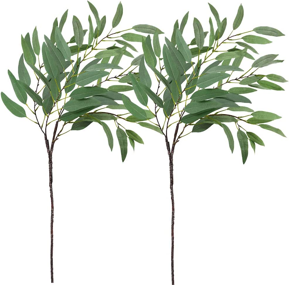 """Shop Supla 2 Pack 47"""" Tall Artificial Eucalyptus Leaves Spray Long Leaves in Grey Green from Amazon on Openhaus"""