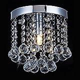 Mini-Size Crystal Chandelier Lighting, 1 Light Rain Drop Flush Mount Ceiling Light, Modern Pendant Ceiling Lamp For Hallway, Bar, Dining Room, Bedroom, Bathroom, Stairwells, W5.9 X H7.08