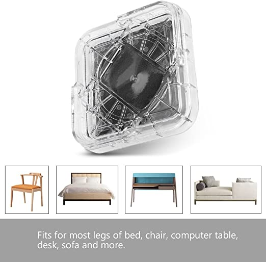 Chairs MIIX HOOM Bed and Furniture Risers 2 inch Adjustable /& Stackable Square Heavy Duty Anti Slip to Castor Wheels Couches Fits All Types of Desks Sofas