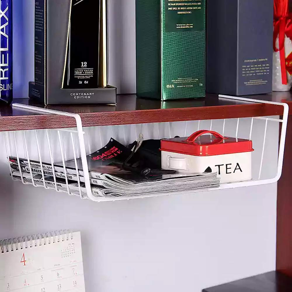 Under Shelf Basket 4 Pack White Wire Rack Slides Under Shelves for Storage Space on Kitchen Pantry Desk Bookshelf Cupboard