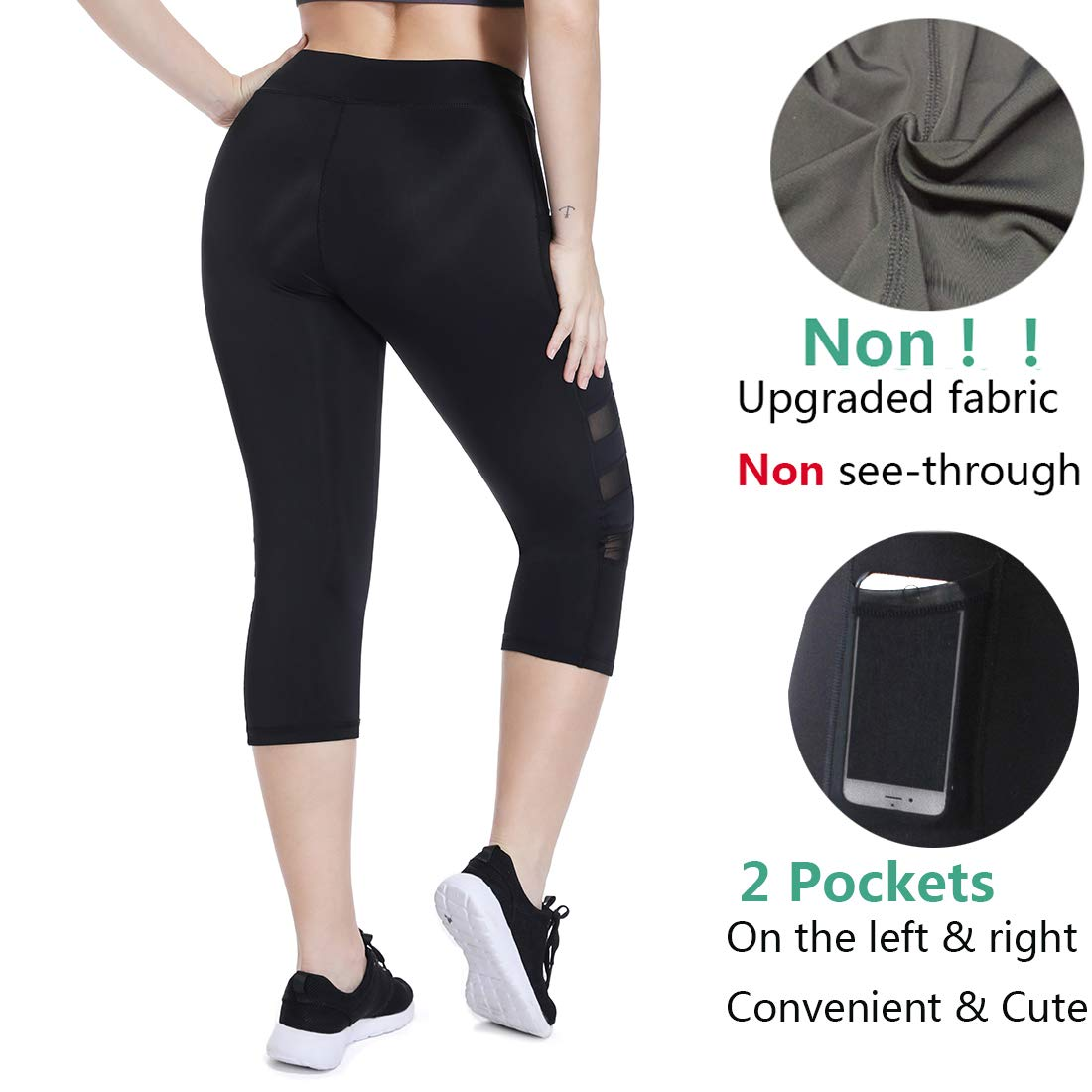 084e076f568 Gym Trousers for Women with Pocket High Waisted Mesh Leggings Yoga Pants  Capri Workout Tights at Amazon Women s Clothing store
