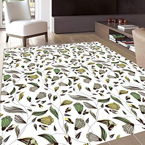 - Rug,FloorMatRug,Floral,AreaRug,Earth Tones Bouquet Beauty Autumn Nature Flame of The Forest Petal,Home mat,5'8
