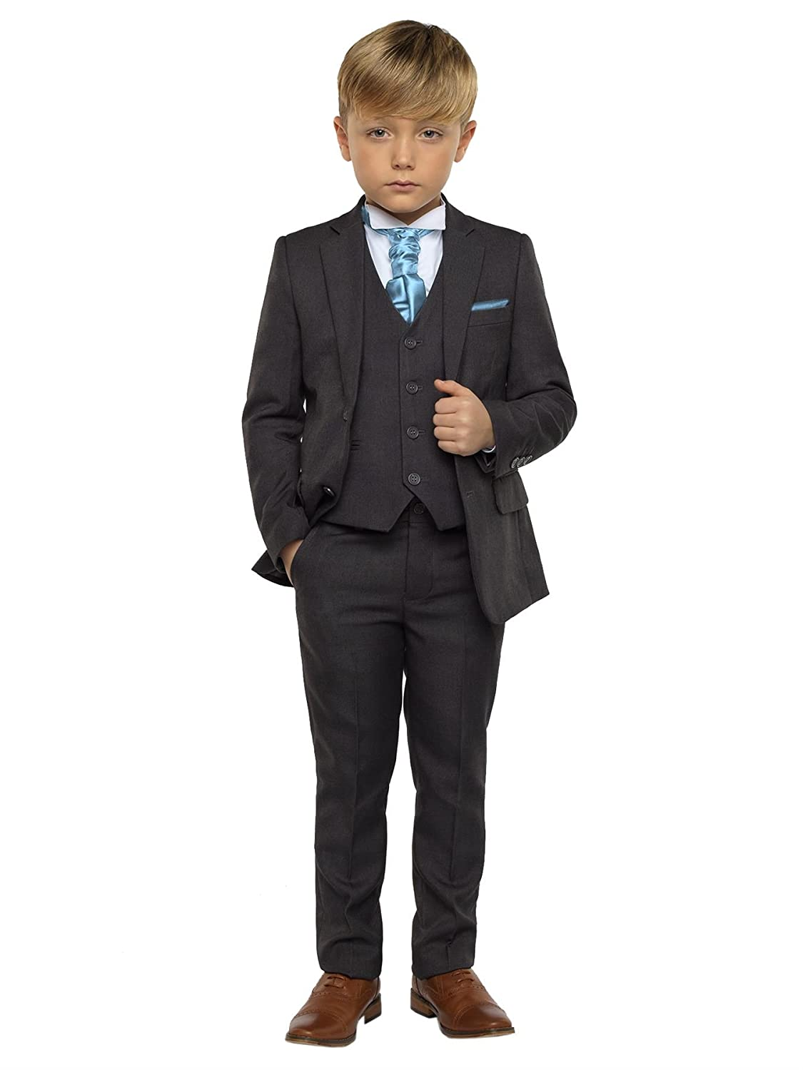 Special Section Boys Cravat Wedding Tie Formal Party One Size Single End Navy Silver Clothing, Shoes & Accessories