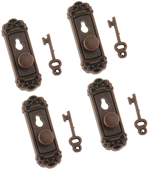 Metal Knob Lock /& Key Set Doll House Miniature 1:12 Door Accessory SELL