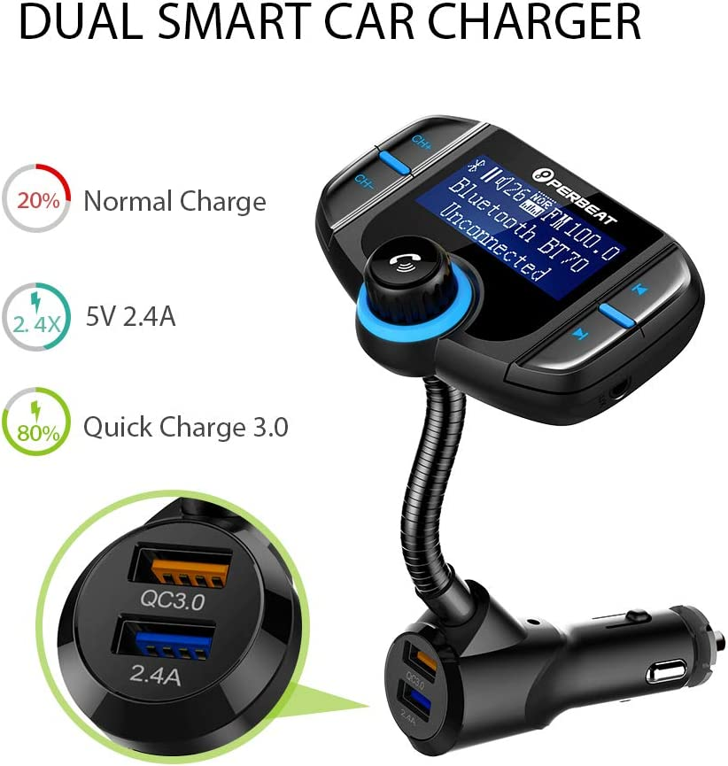 Perbeat inal/ámbrico Bluetooth para el Coche Transmisor de Radio FM Radio Adaptador Kit de Coche con 3.4/A Dual USB Cargador de Coche m/úsica Controles y Llamadas Manos Libres C27