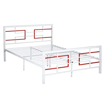 Amazon.com: GreenForest Bed Frame Full Size White, Metal Platform ...