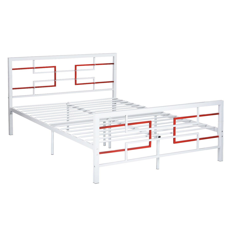 Full Size Stable Metal Bed Frame Mattress Platform Box Spring Needed ...