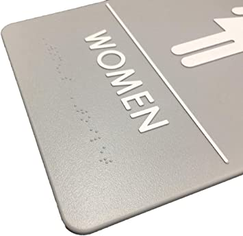 1 Sign, Gray Includes Adhesive Tape and Instructions Women//Wheelchair ADA Compliant Restroom Sign Premier Colors
