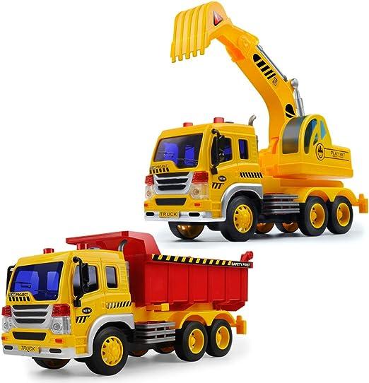 GizmoVine Attrito Alimentato Camion della Spazzatura Scavatrice Impostato Scala 116 Spingi e Vai Giocattoli da Costruzione con luci e Suoni per