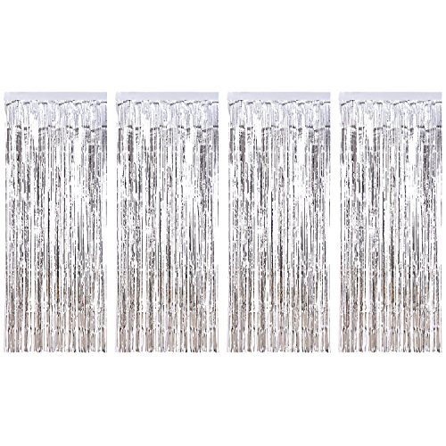 Sumind 4 Pack Foil Curtains Metallic Fringe Curtains Shimmer Curtain for Birthday Wedding Party Christmas Decorations (Silver)