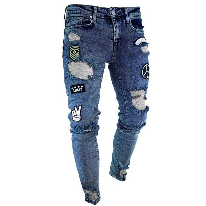 IOSHAPO Pies Ajustados para Hombre Pantalones Vaqueros ...