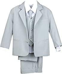 Leadertux 4pc Formal Baby Toddler Boys Baptism White Paisley Vest Sets Suits S-7 4T