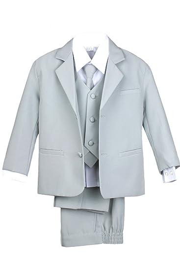 Leadertux 5pc Boys Formal Wedding Light Gray Vest Necktie Sets Suits Outfit S-20 (
