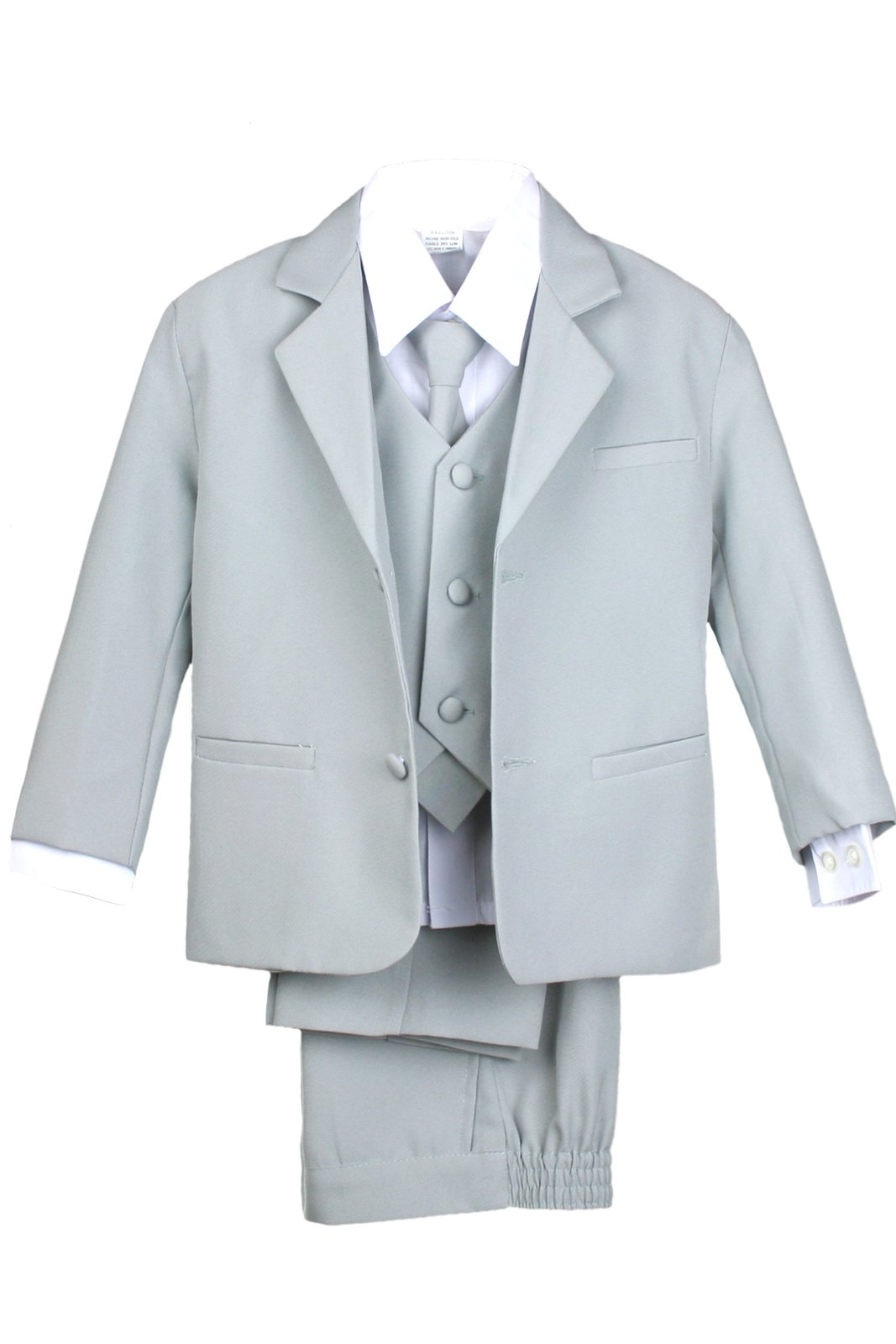 Amazon.com: Leadertux 5pc Boys Formal Wedding Light Gray Vest ...