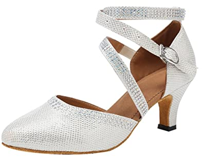 6b166784c491 Abby 8041 Womens Ankle Wrap Breathable Simple Round Toe Rhinestones Glitter  Latin Block Heel Dance Ballroom