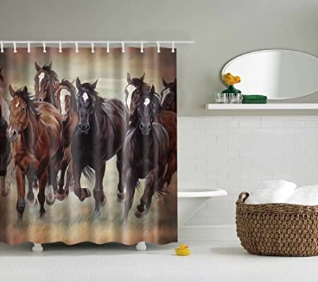 Decorations Shower Curtain ESOOR Waterproof Bath Set Horse 60x72 Inch