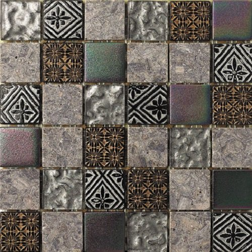 Intrend Tile HC005-B Hand-Colored Stone and Glass Square Mosaic Blend Tile Sheets, 12 x 12 x .31-Inches, Grey/Gold/Silver Mix