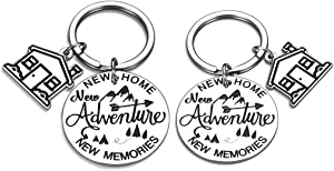 2Pcs New Home 2020 Keychain Gift for New Homeowner Housewarming Gift for Couples First Home Gift for Her Him Mom Dad Daughter Son Family Friend Coworker BFF Moving in Keyring Realtor Closing Jewelry