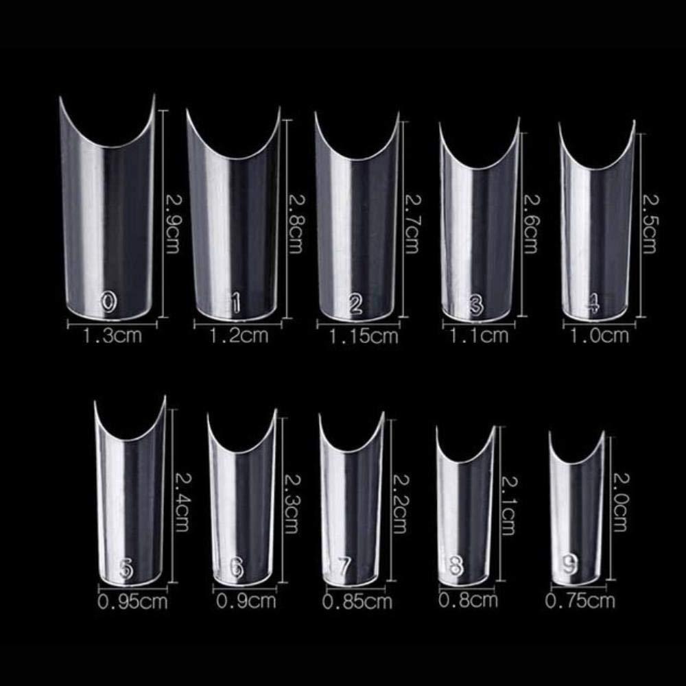 Nail Tips 500 pcs C Curved Fake Nail Transparent Natural White French Acrylic Nail Art False Nails Unhas Nagel Tips (Transparent) by Hakazhi Inc