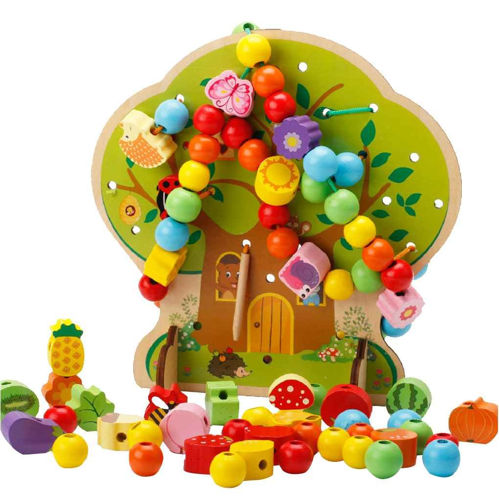 Minzhi Wooden Tree Fruit Animal Beads Threading Toys for Early Learning Education Baby Infant Newborn Wooden Toys