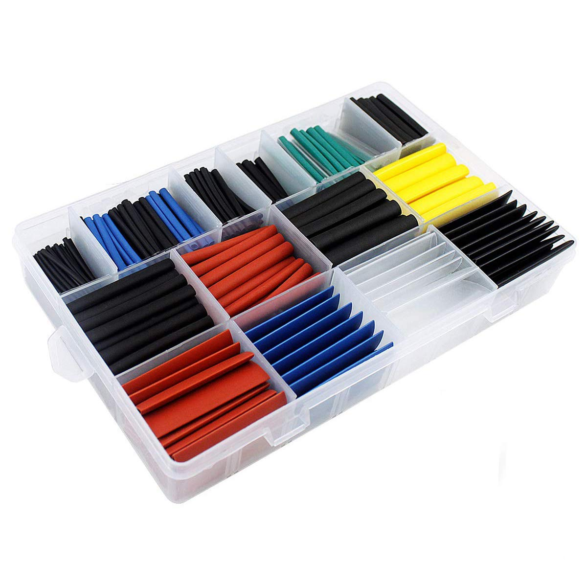 Heat Shrink Tubing 580 Pcs Electric Insulation Tube Heat Shrink Wrap Cable Sleeve 5 Colors 11 Sizes 301-03682
