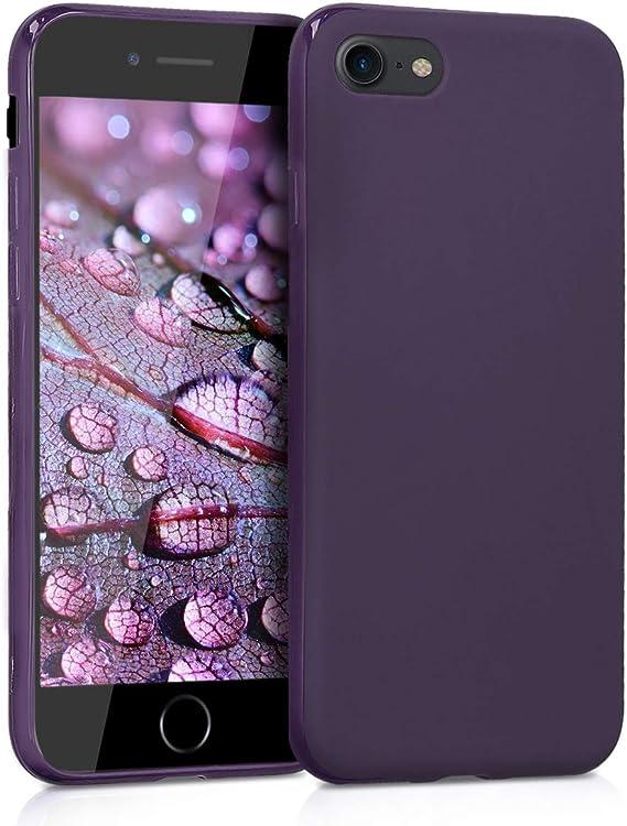 Image ofkwmobile Funda Compatible con Apple iPhone 7/8 / SE (2020) - Carcasa de TPU Silicona - Protector Trasero en Morado Mate