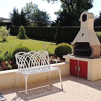 Lazy Susan Furniture Banc De Jardin En Métal Blanc Avril Amazonfr