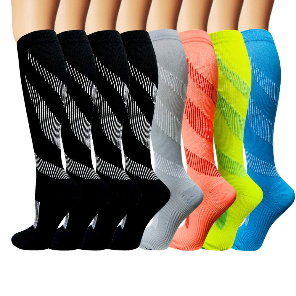 Iseasoo 8 Pack Copper Knee High Compression Socks for Men & Women-Best for Running,Athletic,Medical,Pregnancy and Travel -15-20mmHg (L/XL, 8 Pairs Multicoloured 1)