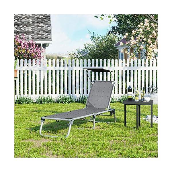 61WfOnZs%2BEL SONGMICS Sonnenliege, Liegestuhl, Gartenliege, Rückenlehne und Sonnendach verstellbar, klappbar, leicht, 55 x 193 x 31…
