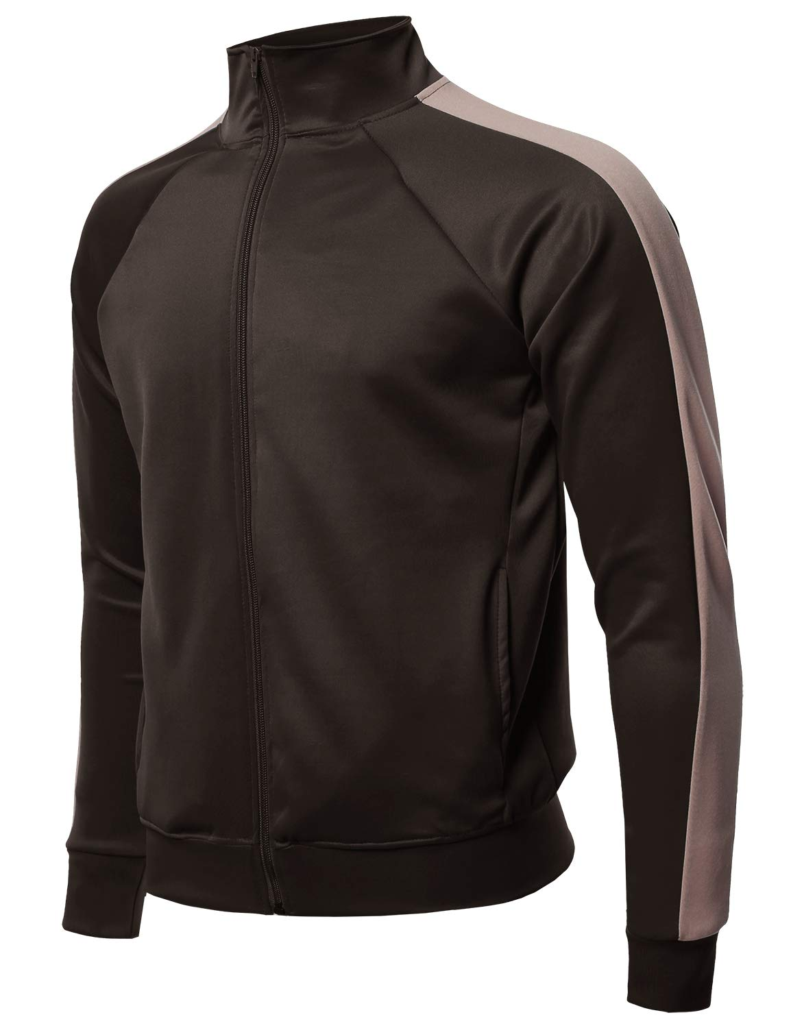Premium Quality Shoulder Panel Zip-Up Track Jacket Brown Camel XL by Style by William