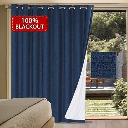 Sliding Glass Door Treatments.H Versailtex 100 Blackout Drapes For Sliding Glass Door Waterproof Faux Linen Door Blinds Anti Rush Grommets Patio Door Curtains Extra Long And Wide