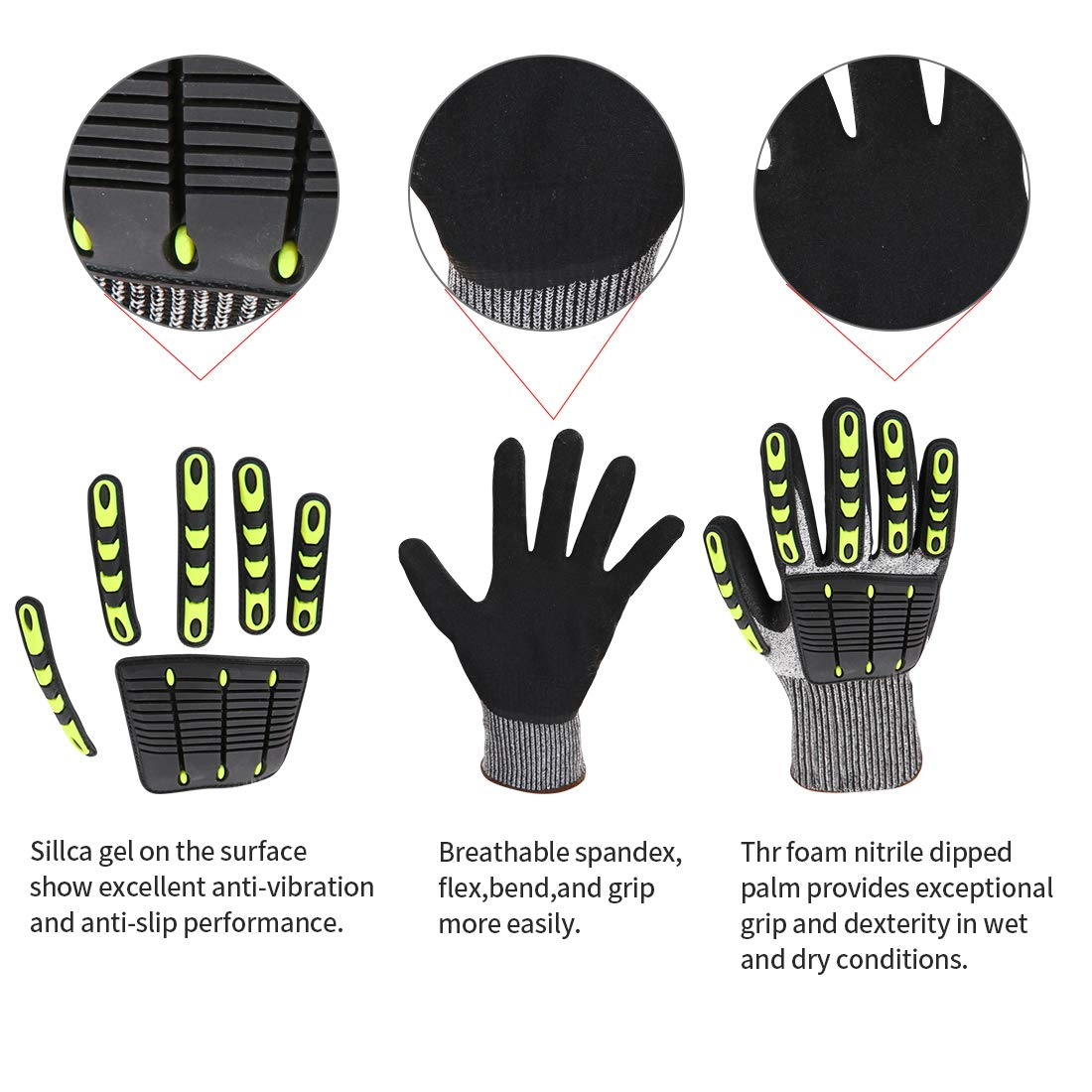 Impact Reducing Safety Gloves, Vibration & Abrasion & Cut Resistant, Ideal for Heavy Duty Safety Work like Mechanic, Garden Construction, Car Repairing Industrial, 1 Pair by KARRISM 4